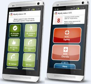 Statusy OK i SOS w usłudze Gdzie Jest Dziecko, czyli screeny na dwóch telefonach komórkowych ze statusami OK i SOS