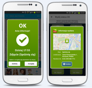 Screen z usługi Gdzie Jest Dziecko z powiadomieniem OK, czyli widok dwóch białych telefonów komórkowych, na których widoczne jest zielone powiadomienie z informacją, gdzie znajduje się bliski i informacją, że wszystko jest OK