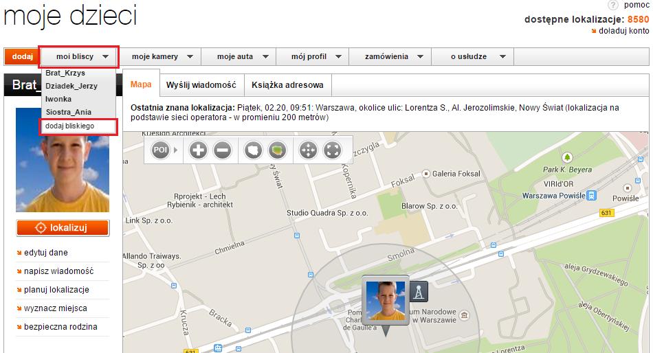 Screen ze podstrony moje dzieci z usługi od Bezpiecznej Rodziny z mapą, na której zaznaczona jest lokalizacja dziecka oraz dodawanie bliskiego do lokalizowania