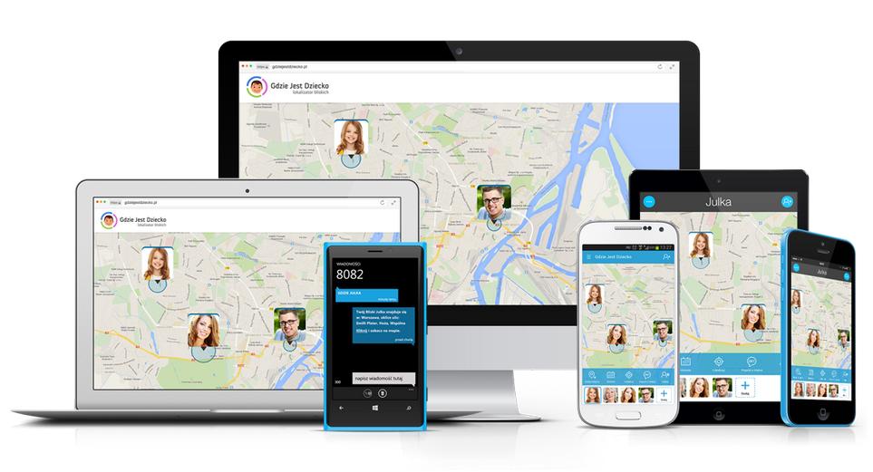 Aplikacja gdzie jest dziecko na urządzeniach, czyli screeny map na telefonach z lokalizacjami, tablecie, laptopie i monitorze komputera