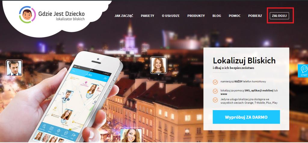 Widok strony głównej Gdzie Jest Dziecko, czyli panorama Warszawy oraz dłoń z białym telefonem komórkowym, na którym widoczna jest mapa z lokalizacjami bliskich osób