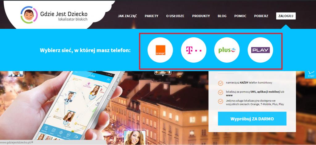 Screen ze strony Gdzie Jest Dziecko z wyborem sieci komórkowej Orange, T-mobile, Plus lub Play