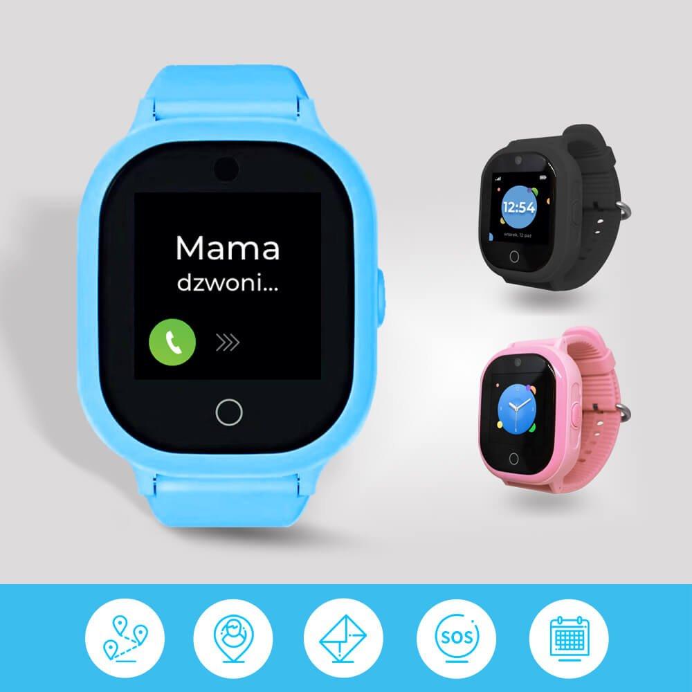 Zegarek z GPS GJD.06 dla dzieci różne kolory, czyli niebieski, czarny i różowy smartwatch dla dzieci z funkcją telefonu i lokalizacji na jasnym tle oraz ikony funkcji na niebieskim tle na dole obrazka