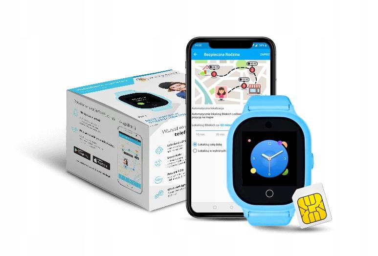 grafika przedstawiająca pudełko od zegarka GPS GJD.06 oraz telefon komórkowy z aplikacją, niebieski smartwatch oraz karta SIM