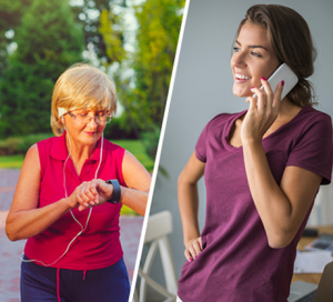 Seniorka w sportowym stroju, w parku, z słuchawkami na uszach, stoi i zerka na smartwatch, który ma na lewym nadgarstku oraz młoda kobieta w mieszkaniu, ubrana w fioletową koszulkę, rozmawiająca przez telefon komórkowy