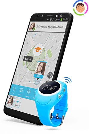 Zdjęcie przedstawiające niebieski zegarek GJD.03 od Bezpiecznej Rodziny oraz telefon komórkowy z widokiem aplikacji od Bezpiecznej Rodziny, na której jest mapa oraz informacja, że dziecko opuściło szkołę