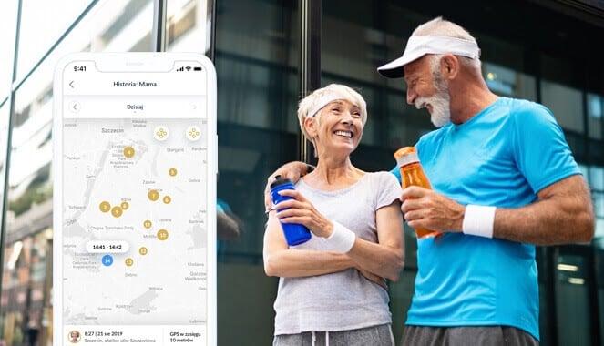Zegarek dla aktywnego seniora BS01 od Bezpiecznej Rodziny, czyli para starszych ludzi trzymająca bidony z wodą, ubrani na sportowo oraz widok aplikacji Bezpieczny Senior z mapą i zaznaczonymi lokalizacjami