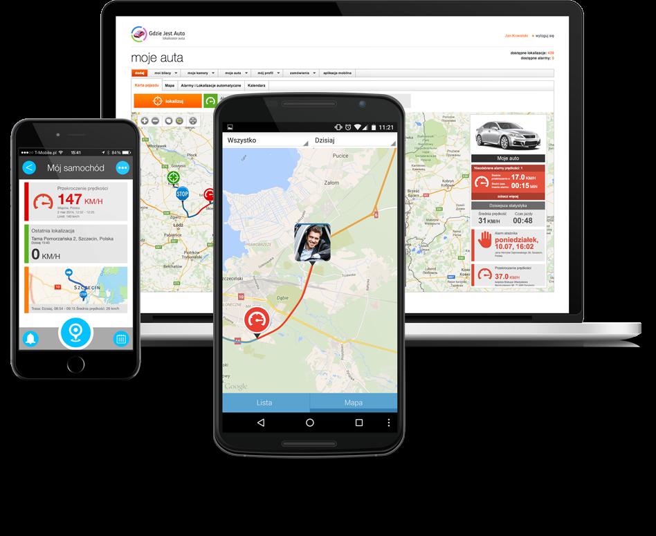Ekrany aplikacji gdzie jest auto