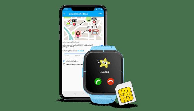 widok telefonu komórkowego z uruchomioną aplikacją Bezpieczna Rodzina oraz niebieski zegarek GJD.11 na który dzwoni mama i karta SIM w zestawie