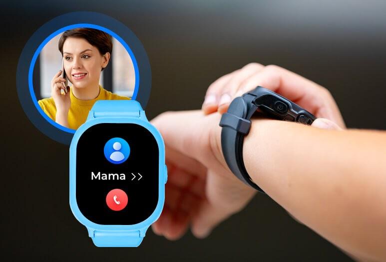 Zegarek z GPS dla dziecka z funkcją telefonu, czyli smartwatch na nadgarstku dziecka oraz widok niebieskiego zegarka z GPS wykonującego połączenie do mamy i zdjęcie miniaturka kobiety w krótkich ciemnych włosach, rozmawiającej przez telefon