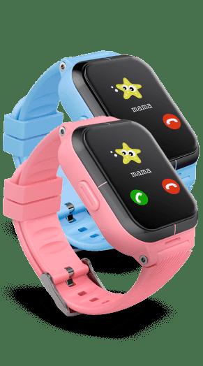 zegarki z GPS GJD.11, czyli zdjęcie różowego i niebieskiego smartwatcha dla dzieci, na monitorach których widać połączenie przychodzące od mamy